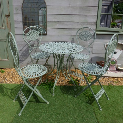 SAGE GREEN GARDEN TABLE WITH FOUR CHAIRS