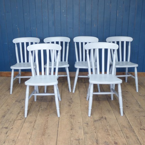 SET OF SIX GREY PAINTED VINTAGE STICK BACK DINING CHAIRS RWI4441