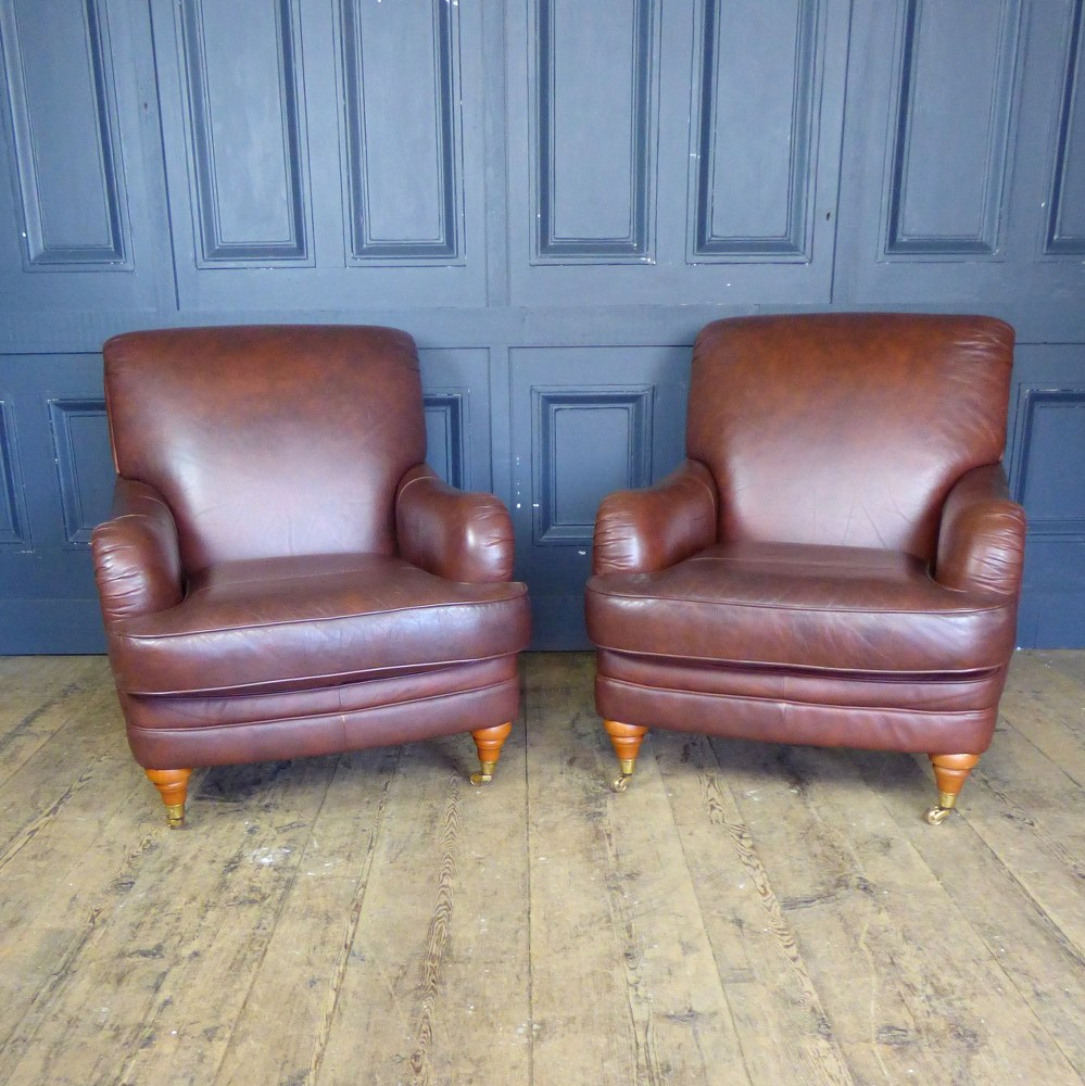 BROWN LEATHER ARM CHAIR IN THE STYLE OF HOWARD AND SONS - TWO AVAILABLE RWI4972