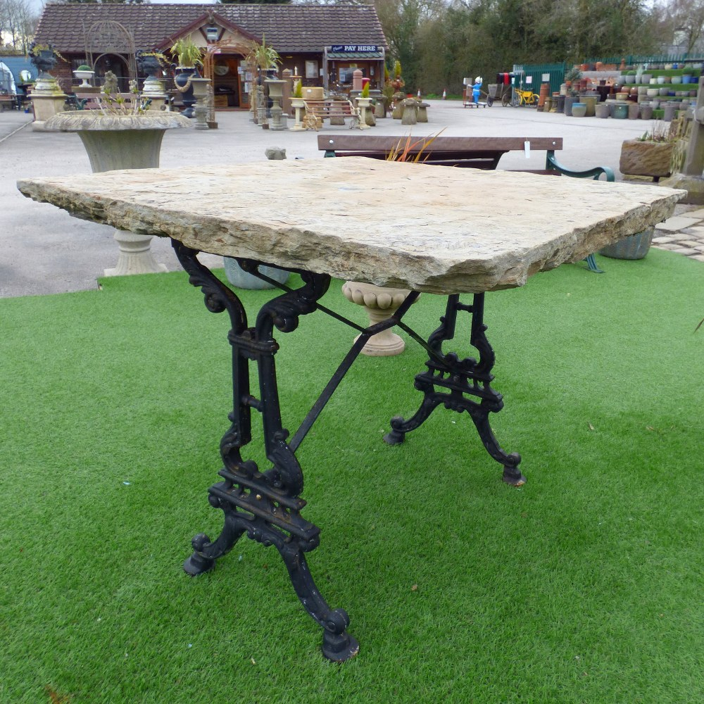 YORK STONE TABLE WITH CAST IRON TABLE BASE RWI5103