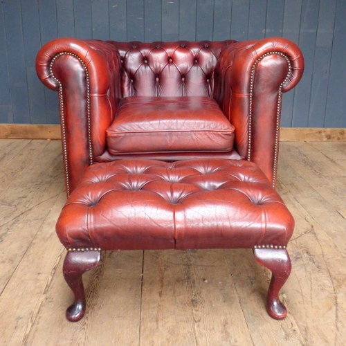 RED LEATHER CHESTERFIELD CLUB ARM CHAIR