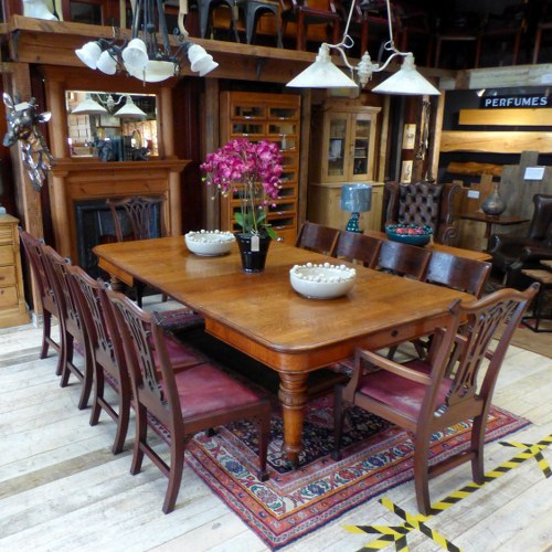 LARGE JOSEPH FITTER VICTORIAN COUNTRY HOUSE EXTENDING OAK DINING TABLE RWI4713
