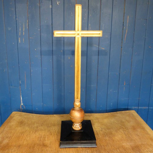 RECLAIMED WOODEN GILT CROSS ON EBONISED BASE RWI4703