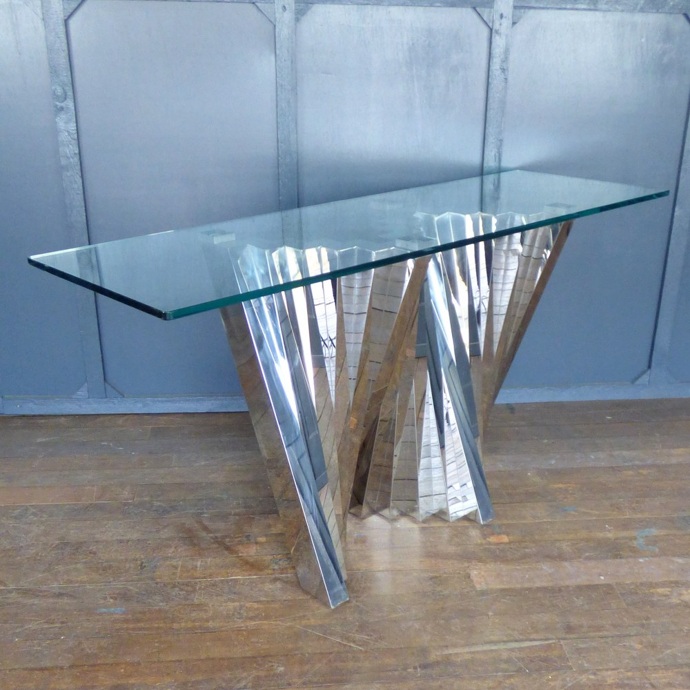 GLASS AND CHROME CONSOLE TABLE RWI5236