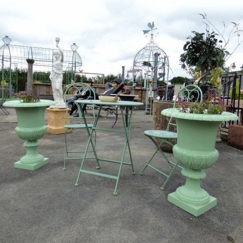 PAIR OF RECLAIMED CAST IRON URNS MINT GREEN RWI4349