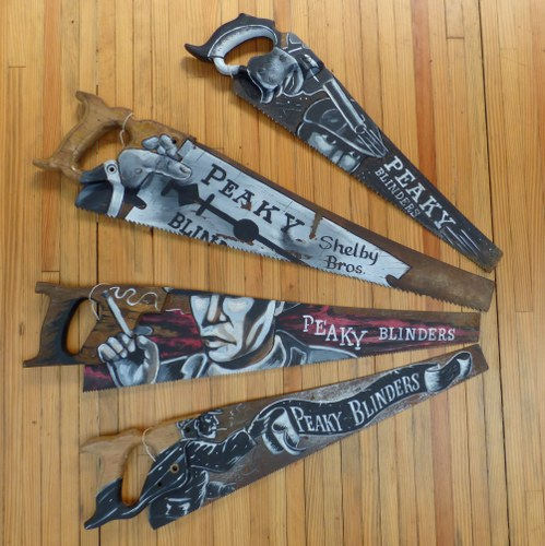 VINTAGE SAWS HAND PAINTED WITH PEAKY BLINDERS DESIGNS RWI3474