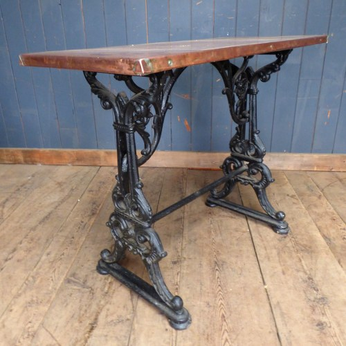 COPPER TOPPED CONSOLE TABLE ON RECLAIMED CAST METAL BASE RWI3585