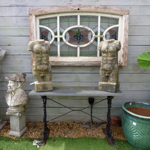 RECLAIMED DECORATIVE STONE STATUES OF MALE TORSOS - TWO AVAILABLE RWI4159