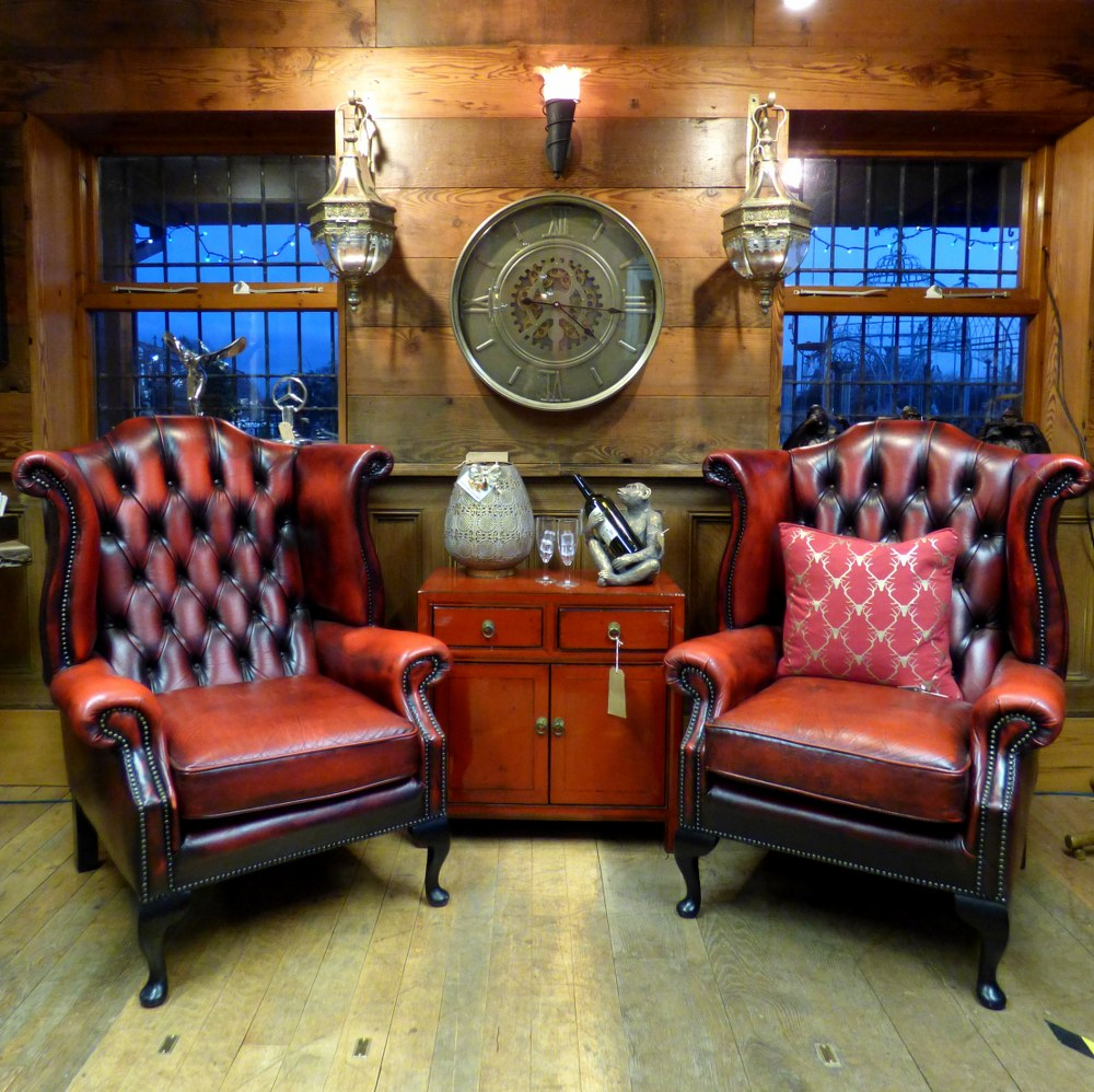RED CHESTERFIELD WINGBACK ARM CHAIR - PAIR AVAILABLE RWI4256