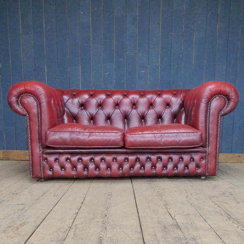 Two Seater Red Leather Chesterfield Sofa Home Furniture And