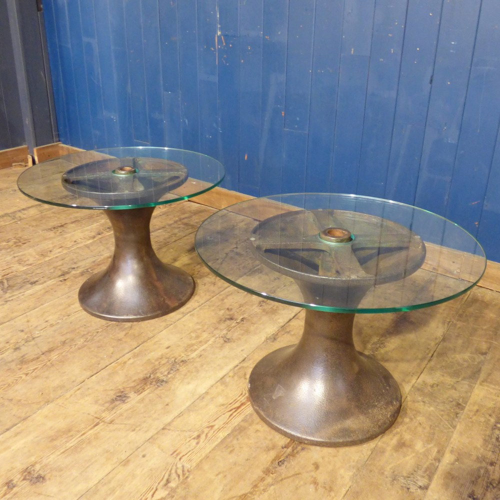 GLASS TOPPED SIDE / LAMP TABLE ON METAL INDUSTRIAL BASE - PAIR AVAILABLE RWI4841
