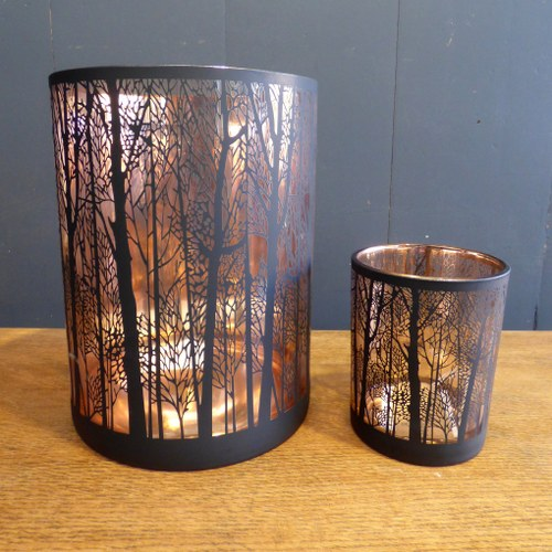 COPPER COLOURED GLASS TREE PRINT CANDLE HOLDERS CH
