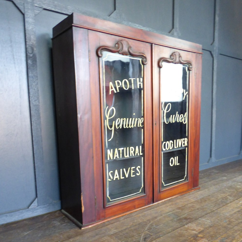 GLAZED MAHOGANY CABINET WITH LATER APOTHECARY SIGN WRITING RWI5320