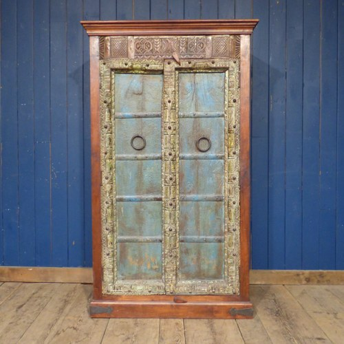 TALL INDIAN CABINET WITH BLUE DOORS RWI4310