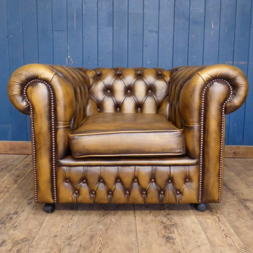BROWN TAN LEATHER CHESTERFIELD CLUB ARM CHAIR - LIGHTER RWI4846