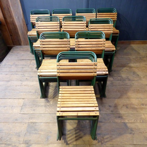 PEL RP6 STACKING CHAIRS WITH SLATTED WOOD BACKS AND SEATS - QUANTITY AVAILABLE RWI3982
