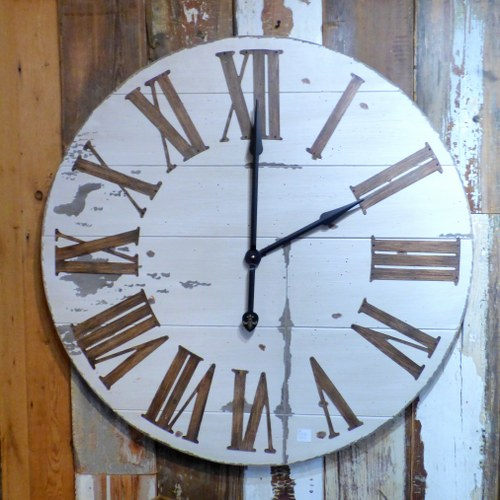 LARGE WOODEN CLOCK WITH WHITE PAINTED FACE CH