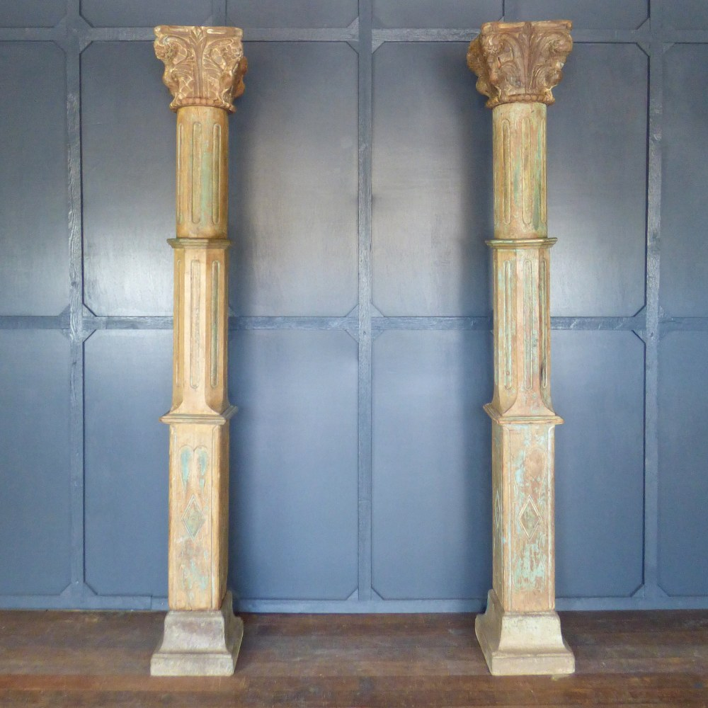 LARGE CARVED WOODEN INDIAN COLUMNS WITH STONE BASES RWI5193