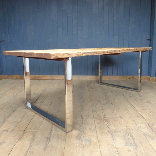 Rustic Driftwood And Chrome Sleeper Dining Table With Glass Top Hb Home Furniture And Decorative Items Reclaimed World
