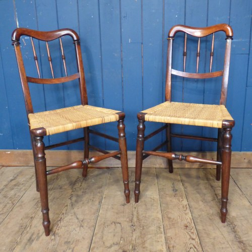 PAIR OF ANTIQUE RUSH SEATED CHILDRENS CHAIRS RWI4550