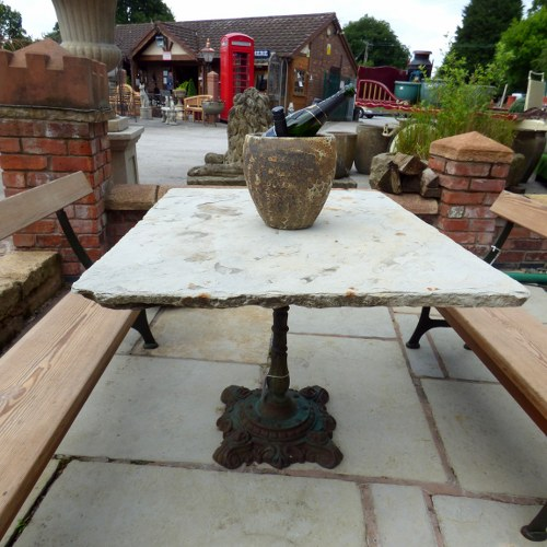 YORKSTONE TABLE WITH RECLAIMED VICTORIAN CAST IRON BASE RWI