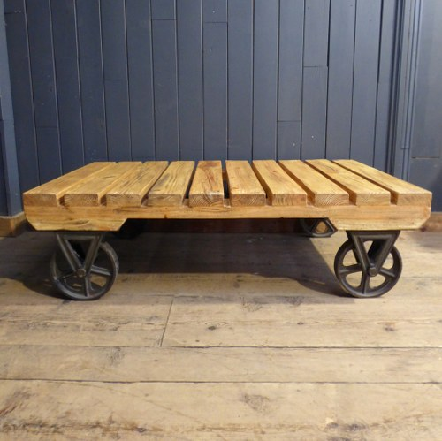INDUSTRIAL STYLE TROLLEY TRUCK COFFEE TABLE - TWO AVAILABLE RWI4275