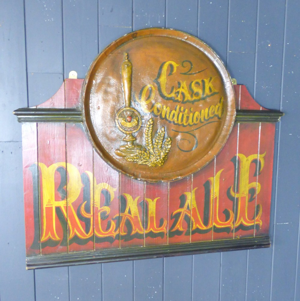 REAL ALE WOODEN ADVERTISING SIGN RWI5191
