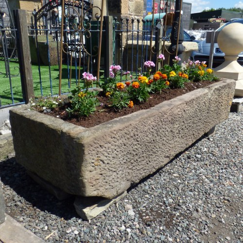 LARGE RECLAIMED RECTANGULAR HAND CARVED SANDSTONE TROUGH
