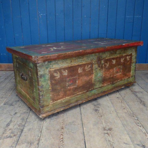 BEAUTIFUL PAINTED ANTIQUE MARRIAGE CHEST RWI4473