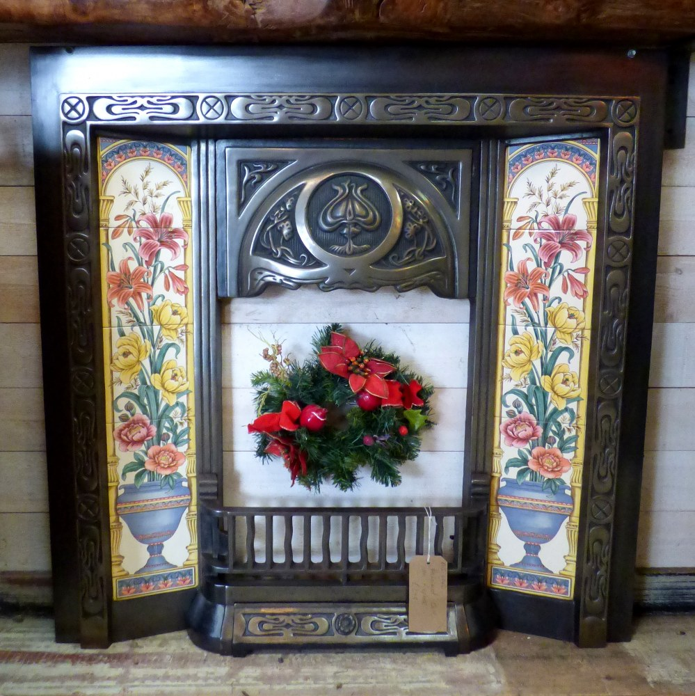 CAST IRON ART NOUVEAU FIRE INSERT WITH FLORAL TILES RWI4742