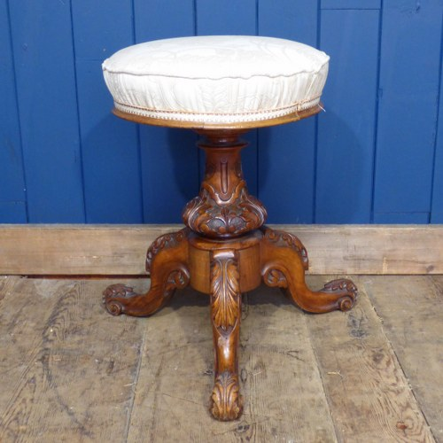 TRIPOD STOOL WITH CARVED BASE AND UPHOLSTERED SEAT RWI3843