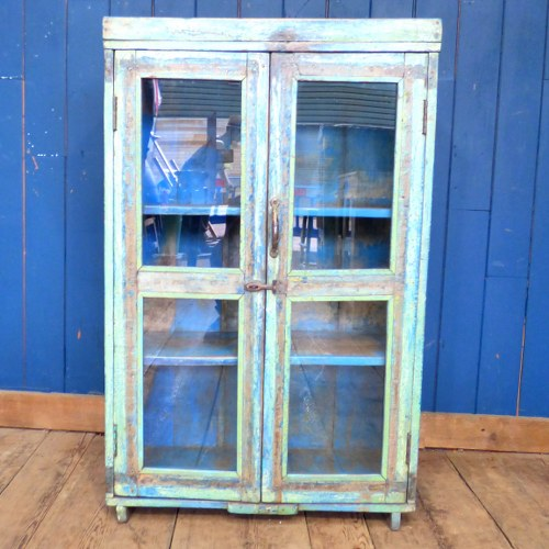 GLAZED WOODEN INDIAN CABINET BLUE AND GREEN RWI4238