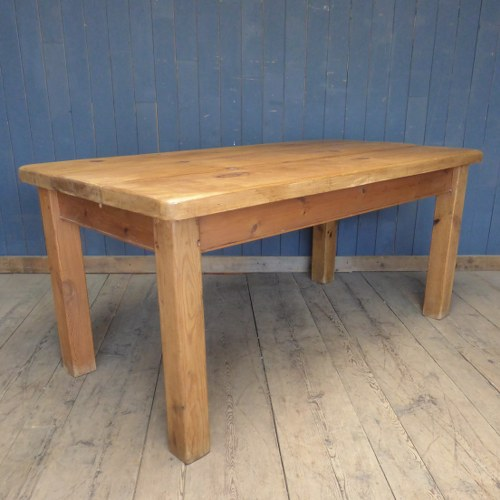 WAXED PINE DINING TABLE