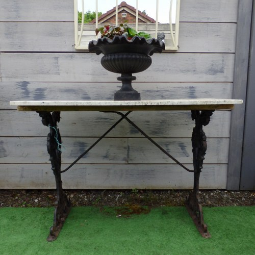 RECLAIMED CAST IRON TABLE WITH MARBLE TOP RWI4050