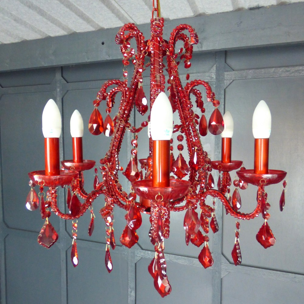 VINTAGE RED CRYSTAL CHANDELIER - TWO AVAILABLE RWI5189