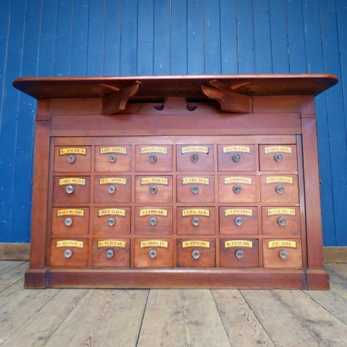 ANTIQUE MAHOGANY APOTHECARY COUNTER / DRAWERS RECLAIMED FROM A CHEMIST SHOP RWI4285