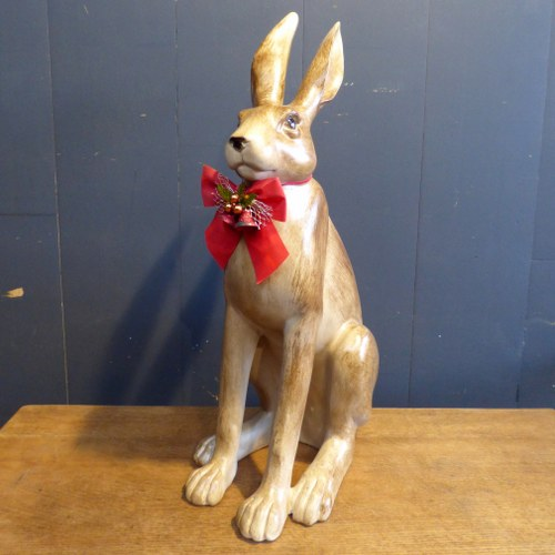 LARGE WOOD EFFECT RABBIT STATUE CH