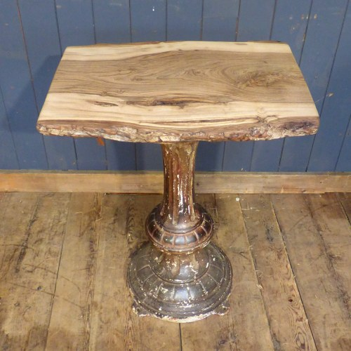 RUSTIC LIVEWOOD WALNUT CONSOLE TABLE ON RECLAIMED CAST IRON BASE