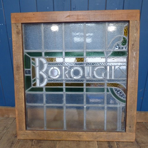 RECLAIMED STAINED GLASS BOROUGH SIGN / WINDOW RWI4168