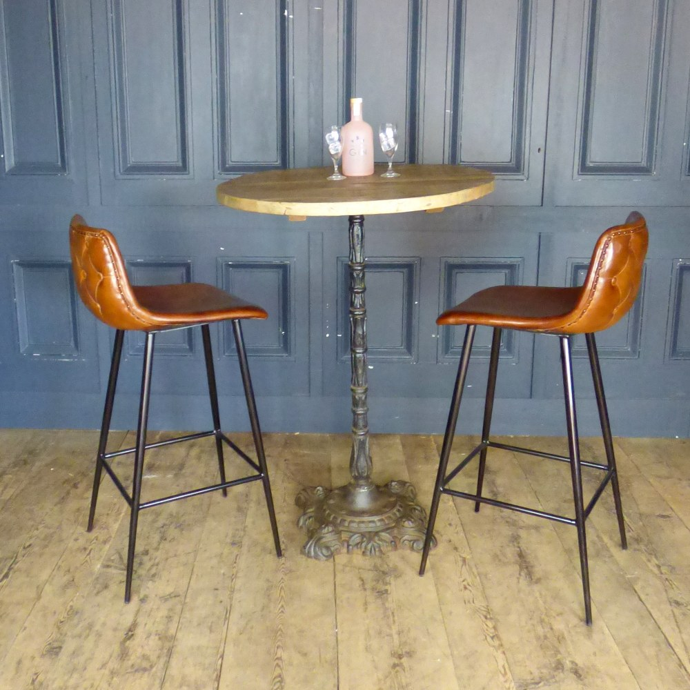 RECLAIMED ANTIQUE POSEUR TABLE WITH CAST IRON BASE AND TEAK TOP RWI5169