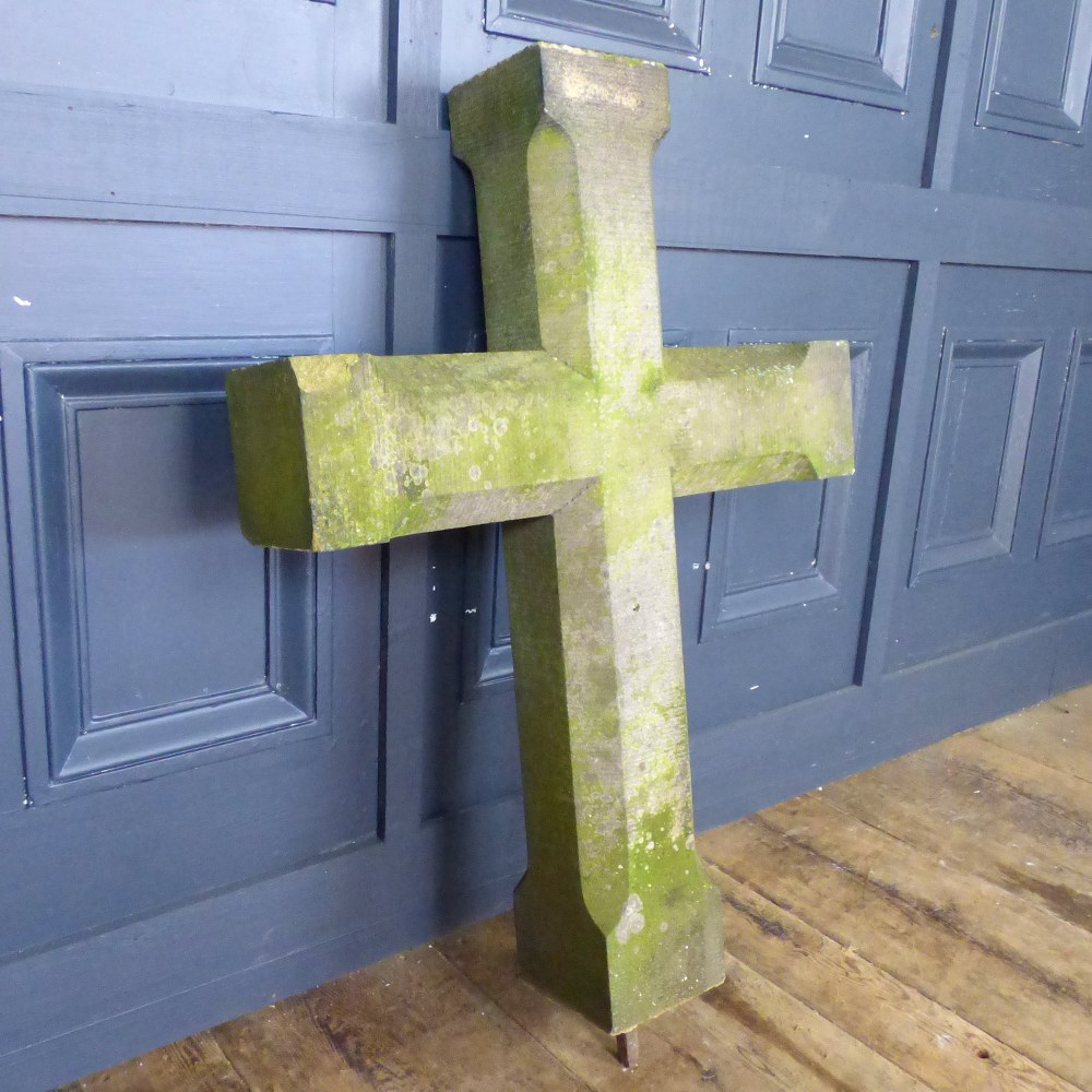 LARGE RECLAIMED ECCLESIASTICAL STONE CROSS RWI4978