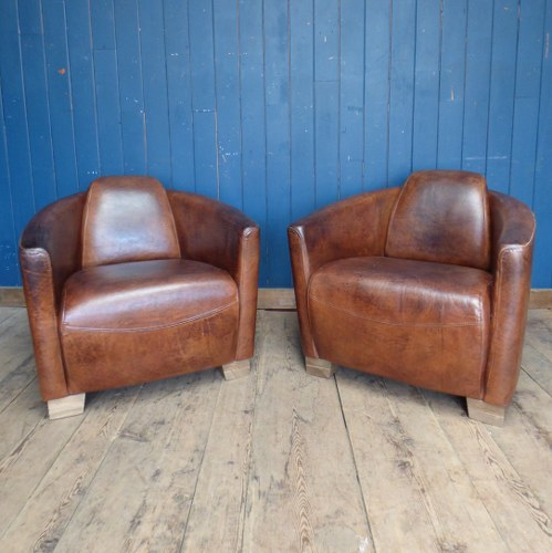 ART DECO STYLE TAN LEATHER CLUB CHAIRS DI