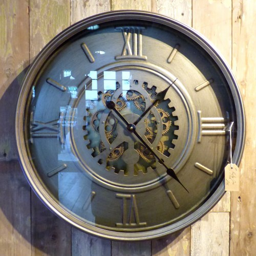 PEWTER BRUSHED METAL CLOCK WITH MOVING GEARS M