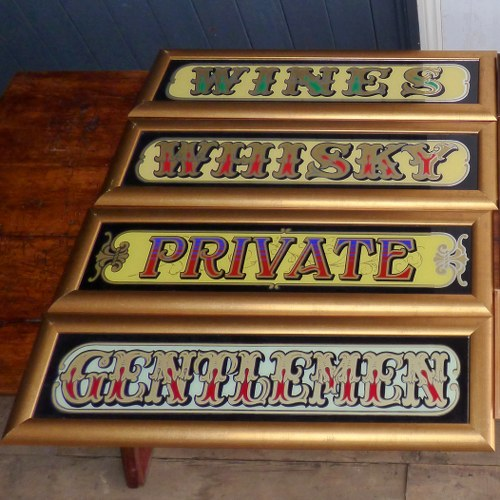 VINTAGE GLASS PUB SIGNS