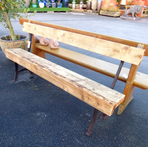 CHUNKY WOOD AND METAL GARDEN BENCHES - PAIR AVAILABLE RWI2640