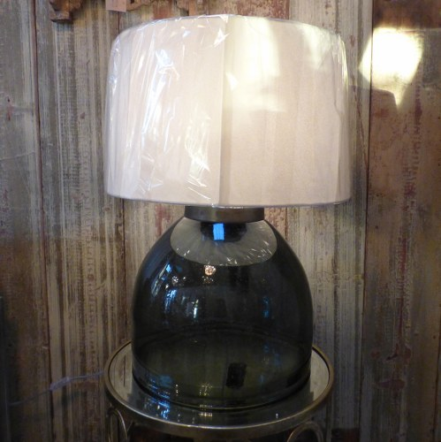 Large Smokey Blue Green Bubble Glass Table Lamp Lights Reclaimed