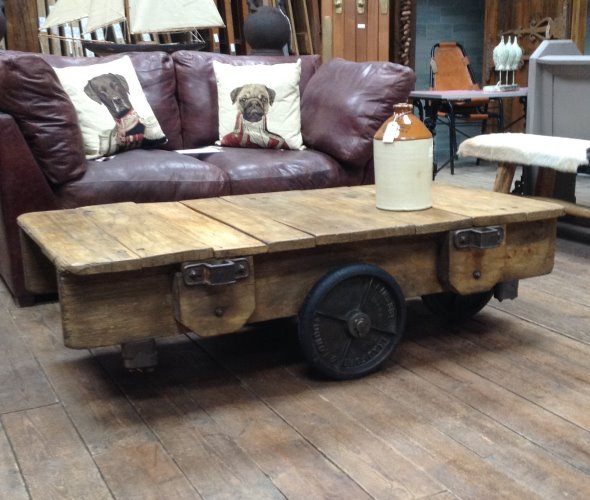 Large Wooden Industrial Coffee Table