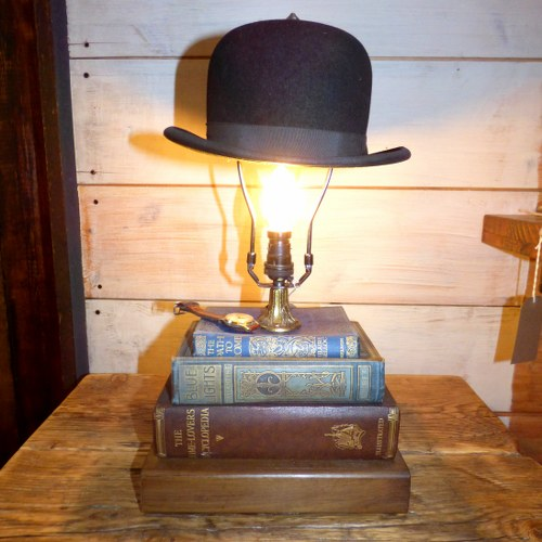 Upcycled bowler hat table lamp lights reclaimed world upcycled bowler hat table lamp aloadofball Images