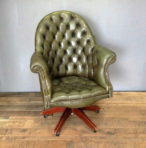 Vintage Green Leather Chesterfield Swivel Office Chair Home
