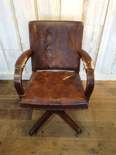 vintage leather bankers chair